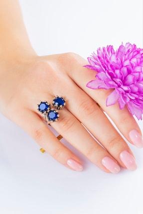 Güçlü Kuyumculuk Kadın Dogal Safir Taşlı Çiçek Modelli Otantik Gümüş Yüzük