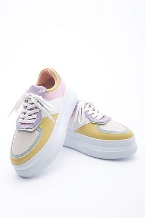 Marjin Kadın Beyaz Sneaker Dolgu Topuk Spor Ayakkabı Civaz