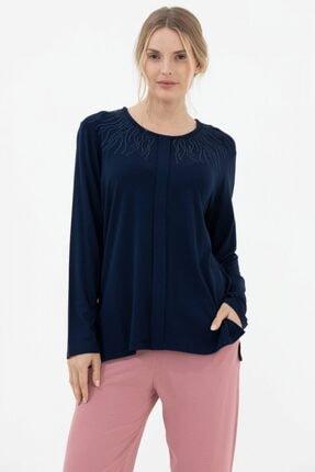 Sementa Kadın Lacivert Yakası Taş Detaylı Uzun Kol Bluz