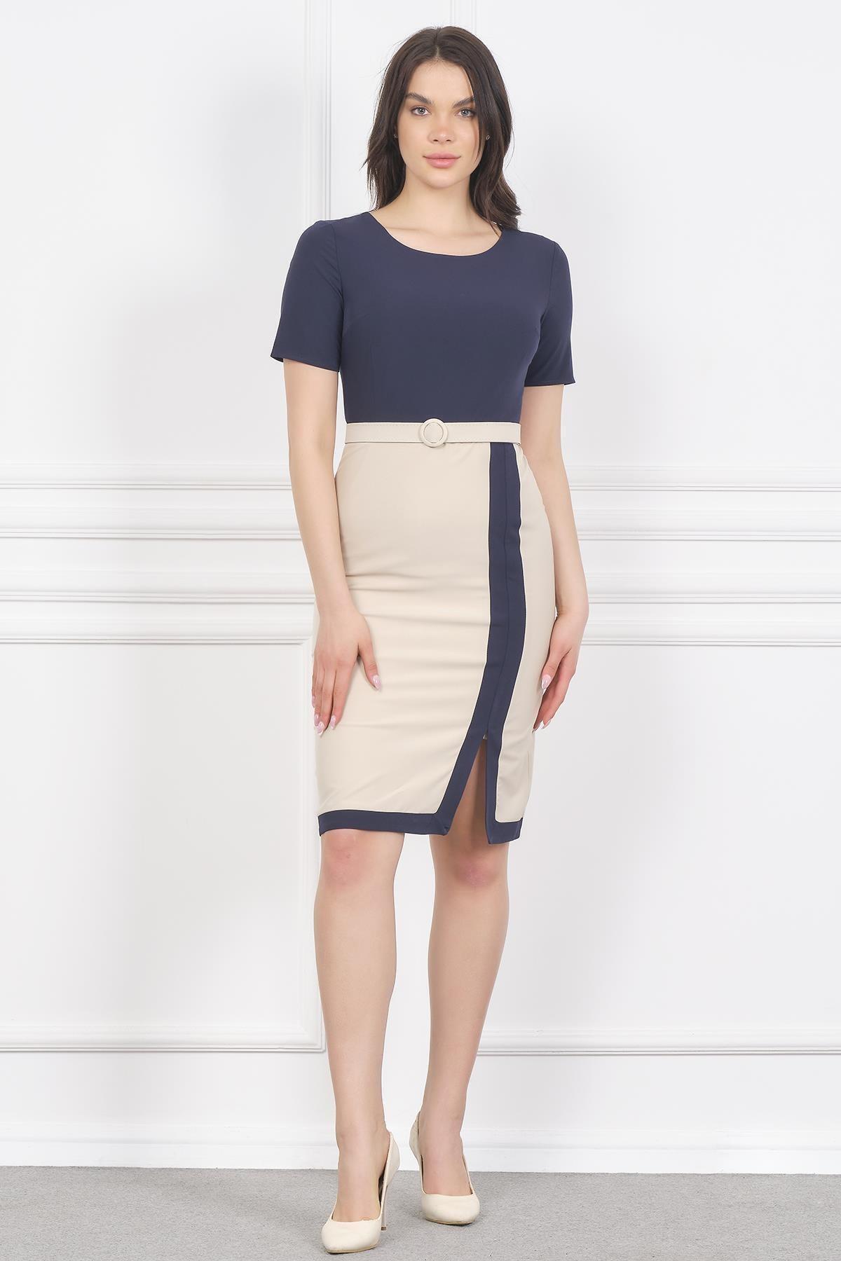 Shahiqa Çift Renkli Kemerli Şık Ofis Elbise 2