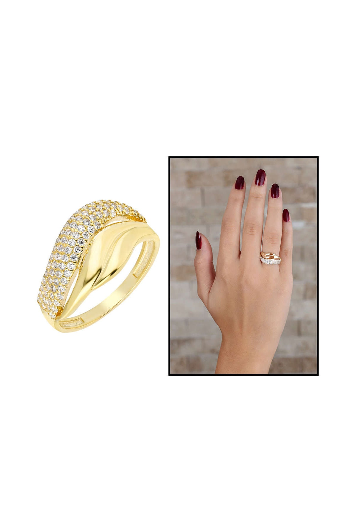 Tesbihane Zirkon Taşlı Wave Tasarım Gold Renk 925 Ayar Gümüş Bayan Yüzük 102001737 1