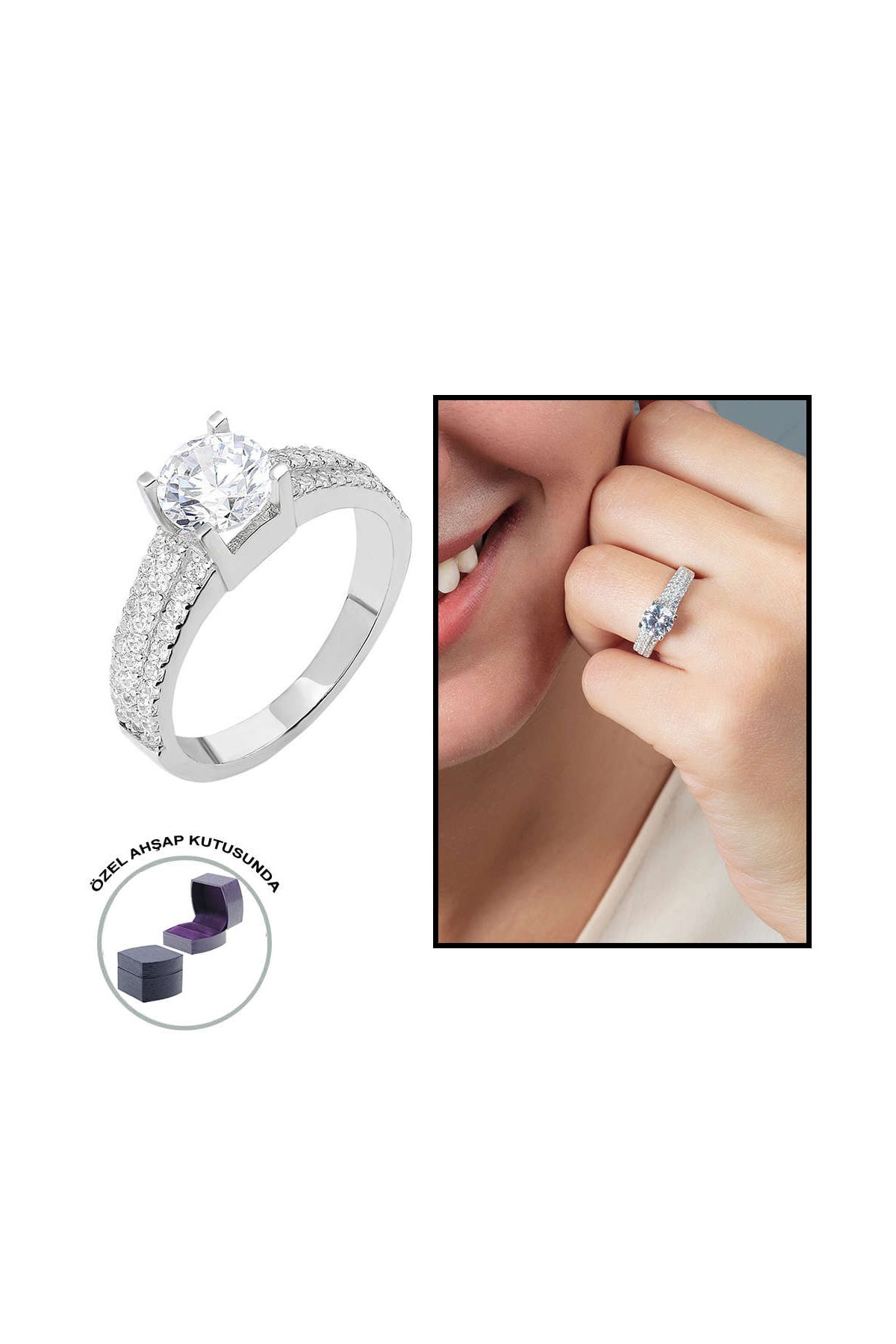 Tesbihane Starlight Diamond Pırlanta Montür Üç Sıralı 925 Ayar Gümüş Bayan Tektaş Yüzük 102001802