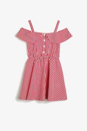 Koton Kız Kırmızı Çizgili Elbise 0YKG81450OW