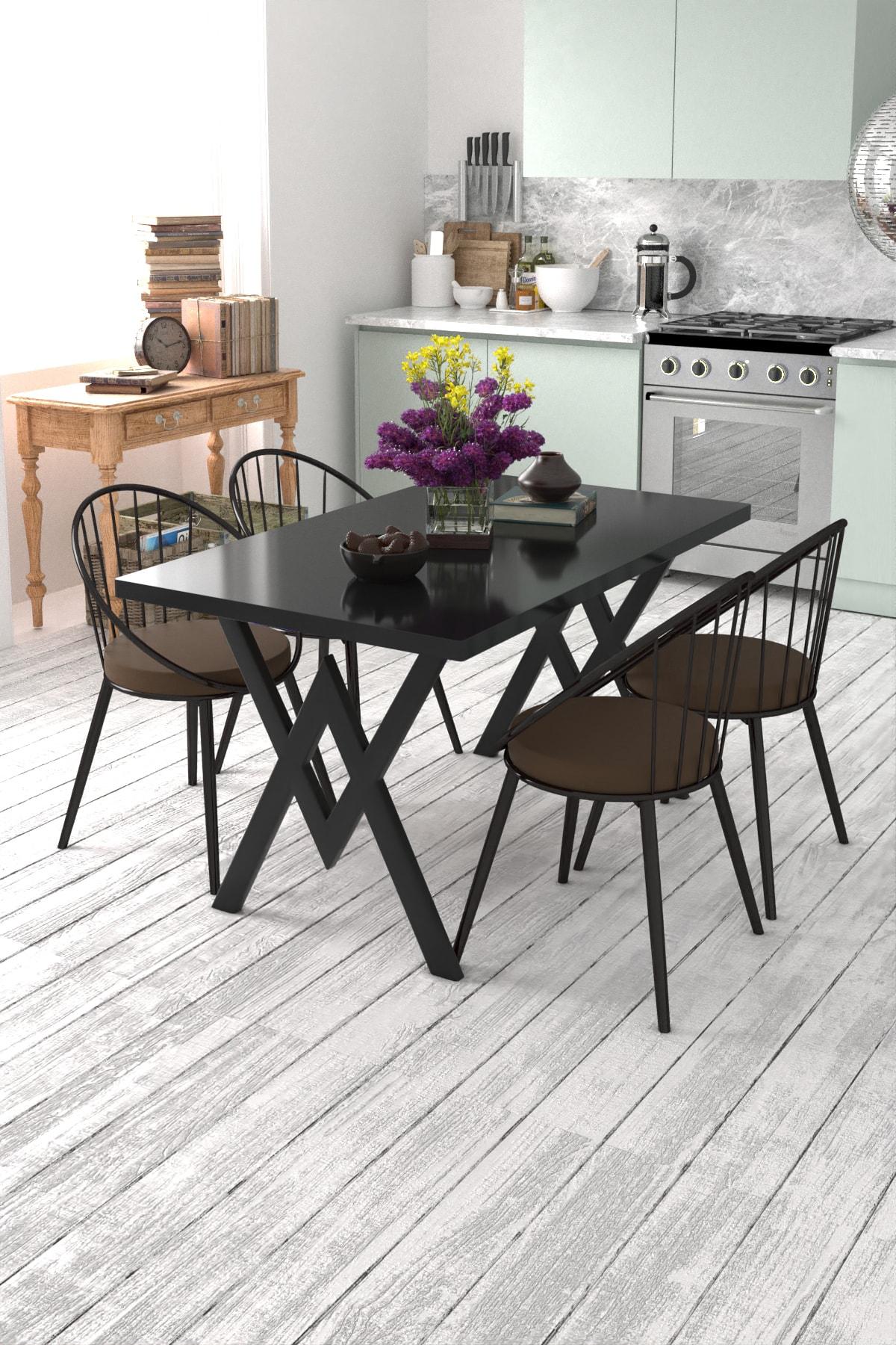 Evdemo Eylül 4 Kişilik Mutfak Masası Takımı Siyah Kahverengi 1