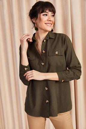 Olalook Kadın Yeşil Çift Cepli Salaş Gömlek GML-19000531