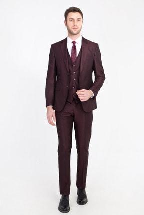 Kiğılı Erkek Bordo Slim Fit Yelekli Kuşgözü Takım Elbise