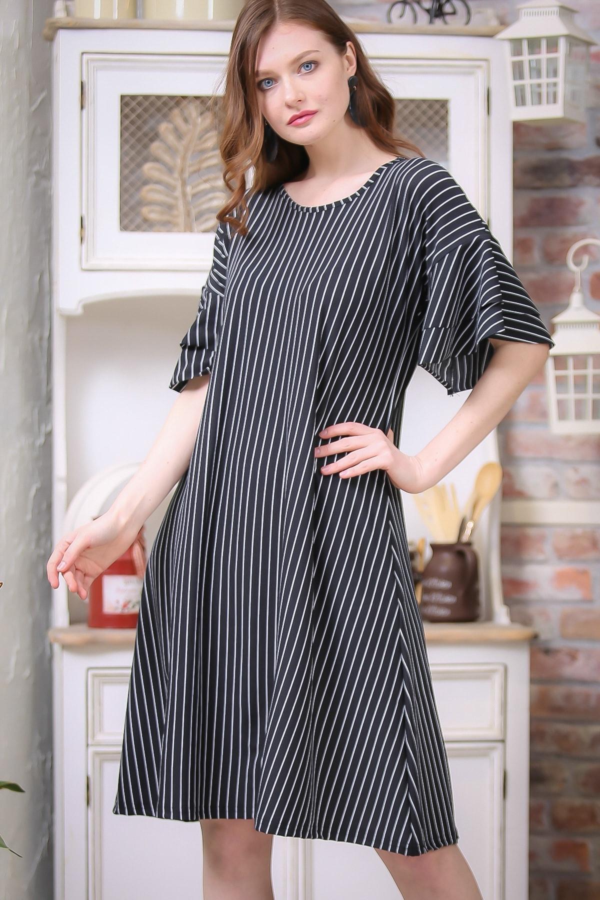 Chiccy Kadın Siyah-Beyaz Retro Kolları Volan Detaylı Çizgili Elbise M10160000EL97328