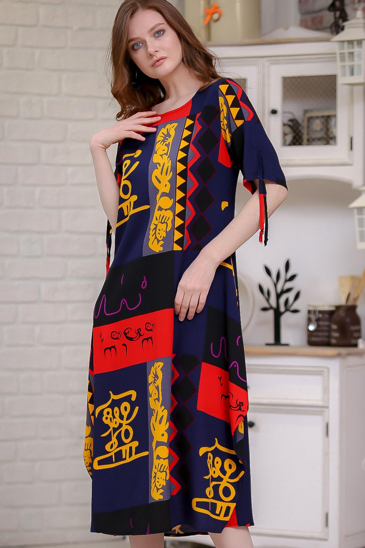 Chiccy Kadın Kırmızı-Siyah Bohem Patchwork Desenli Cep Detaylı Dokuma Salaş Elbise  M10160000EL97276