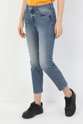 Colin's 891 Maya Dar Kesim Yüksek Bel Bilekte Düz Paça Mavi Kadın Pantolon CL1048768