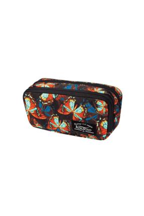 KAUKKO Mor Unisex Flowers Çift Bölmeli Kalem Çantası Kalemlik & Ataşlık 46001.005