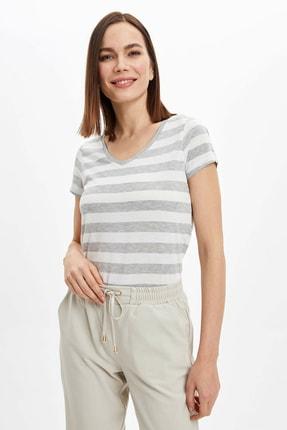 DeFacto Kadın Gri Yatay Çizgili Kısa Kollu T-Shirt M7409AZ.20SP.GR210