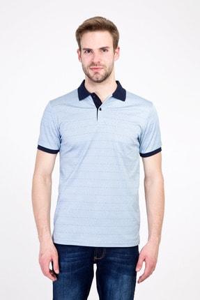 Kiğılı Erkek Mavi Polo Yaka Regular Fit Merserize Tişört