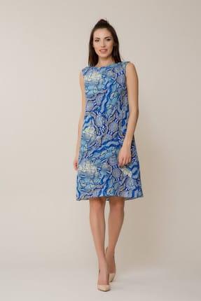 GİZİA Kadın Desenli Mavi Mini Elbise M18Y5W2551E9C