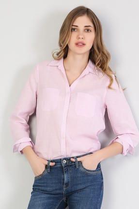 Colin's KADIN Regular Fit Shirt Neck Kadın Pembe Uzun Kol Gömlek CL1042550