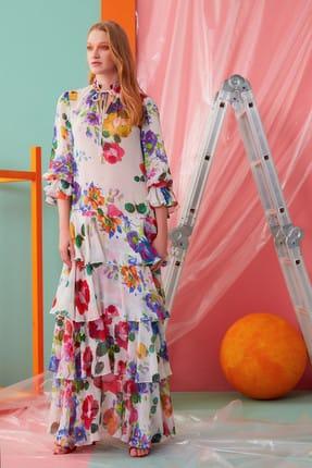 GIZIA CASUAL Yaka Ip Detaylı Çiçekli Uzun Elbise