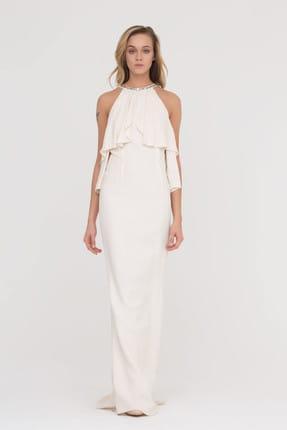 GİZİA Kadın Yakada Taş Detaylı Ekru Maxi Elbise M17Y5Y22711KV