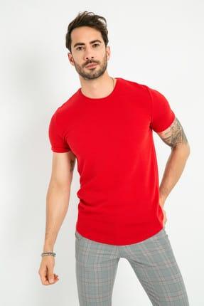 Sateen Men Erkek Kırmızı Bisiklet Yaka T-Shirt 116-9008 116-9008