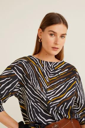 MANGO Woman Kadın Siyah Zebra Desenli Bluz 43015832