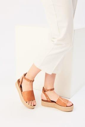 İnci Hakiki Deri Taba Kadın Sandalet 120130005431