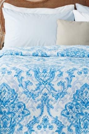 Madame Coco Richelle Baskılı Çift Kişilik Yatak Örtüsü - Mavi
