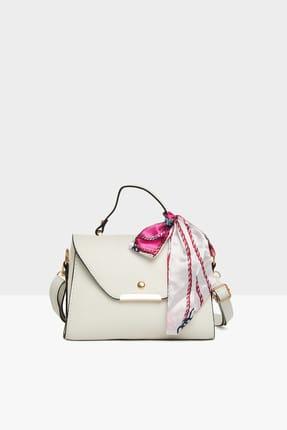 Bagmori Beyaz Kadın Kapaklı Şallı Askılı Çanta M000003228