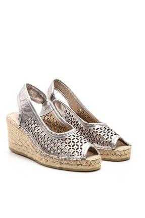 Derimod Hakiki Deri Koyu Gri Kadın Sandalet
