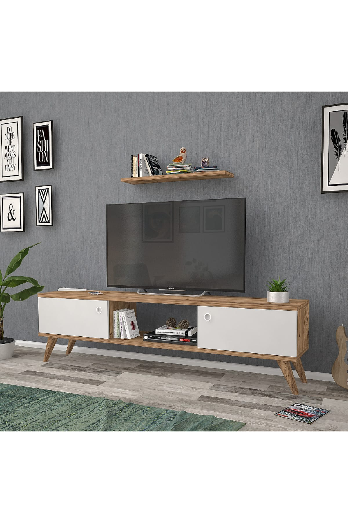 Mbes Mobilya 140 Cm Eda Atlantik -beyaz Tv Ünitesi 2