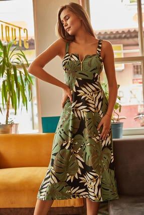 Olalook Kadın Yeşil Fermuarlı Büyük Palmiye Desenli Elbise ELB-19000615
