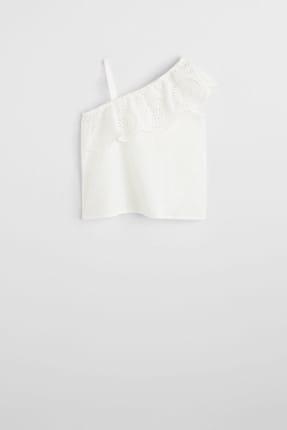 MANGO Kids Kırık Beyaz Kız Çocuk İşlemeli Asimetrik Bluz 53030746