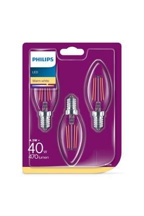Philips Led Classic Ampul 40W B35 E14 Non-Dim 2700K 3'Lü Ekopaket