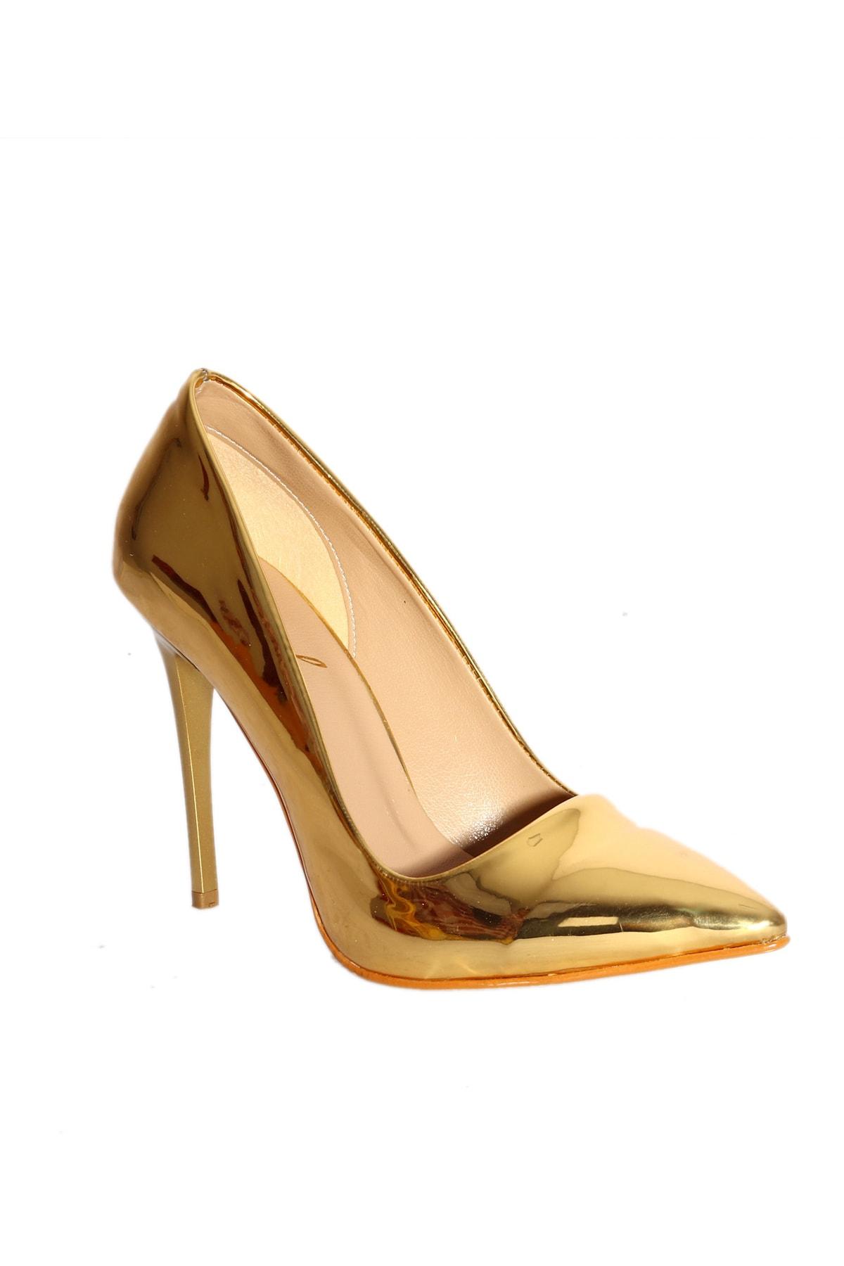 TRENDBU AYAKKABI Gold Kadın Klasik Topuklu Ayakkabı KLAS6666 2