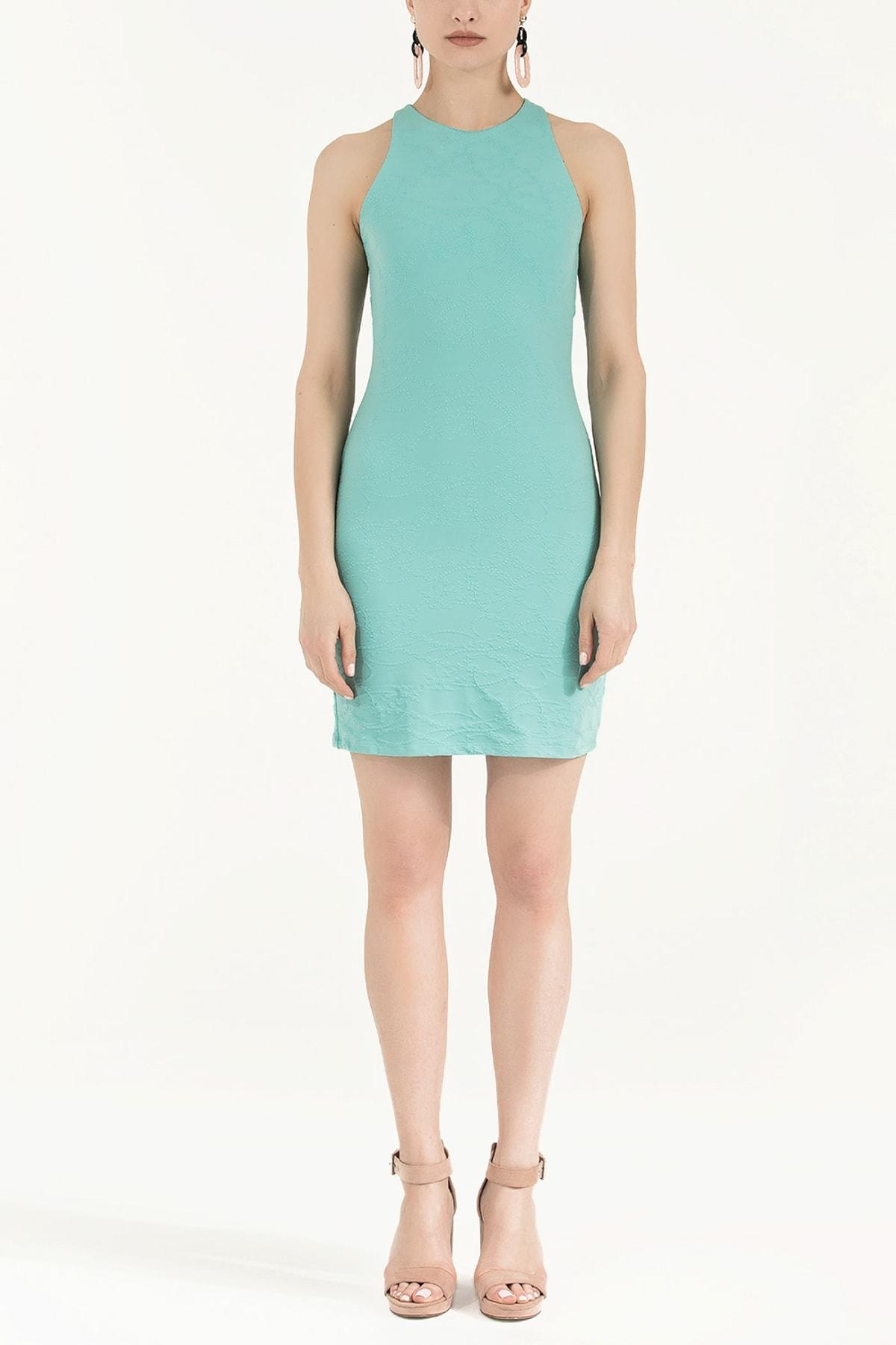 SOCIETA Kadın Örme Mini Elbise Yeşil 91860 1