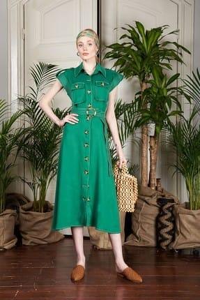 Urban Muse Kadın Yeşil Safari Elbise URBAN250