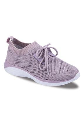 Jump Kadın Beyaz-Lila Bağcıksız Örgü Günlük Spor Yürüyüş Ayakkabı