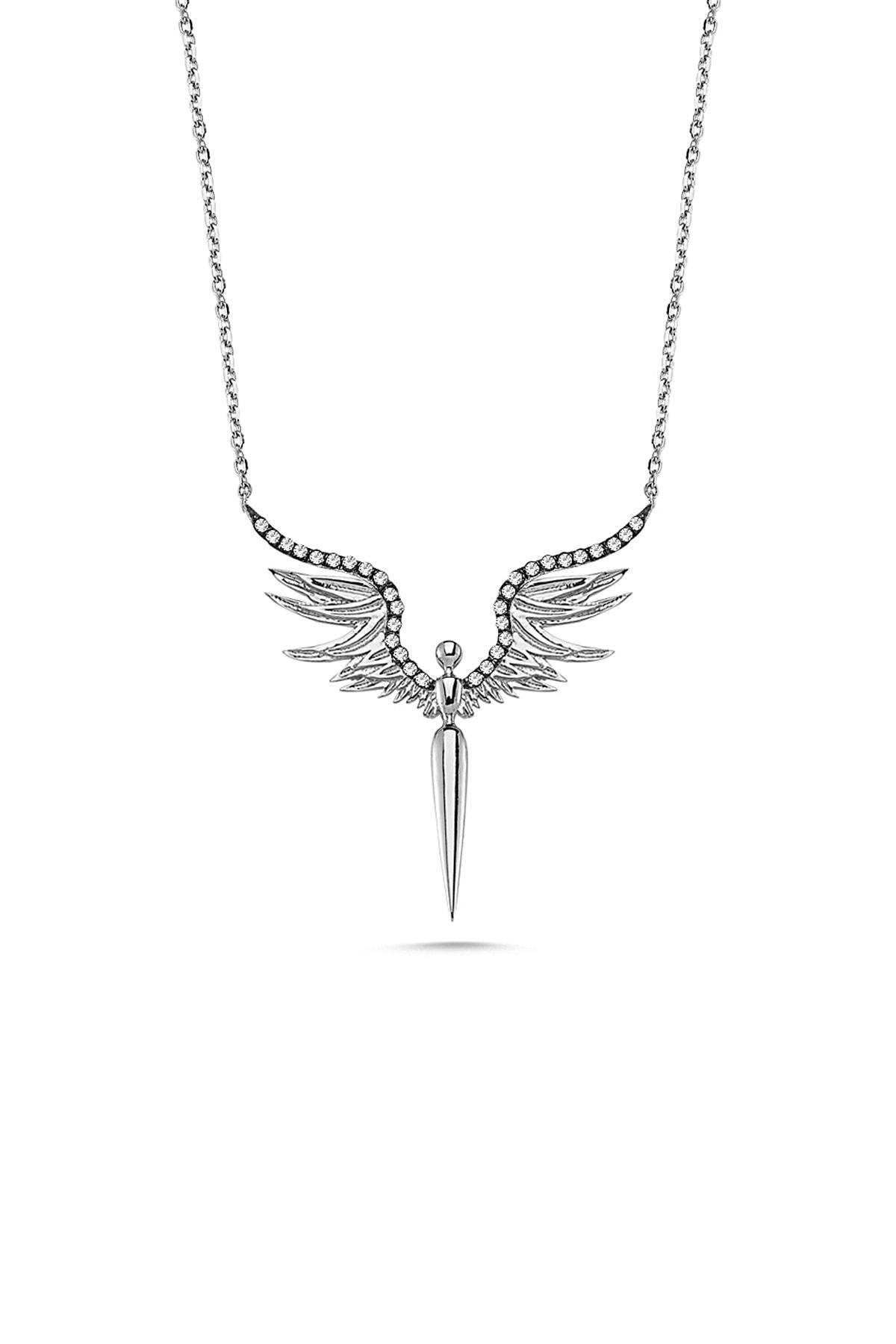 Gümüş Çarşısı Kadın Gümüş Melek Kanadı Kolye GCA248