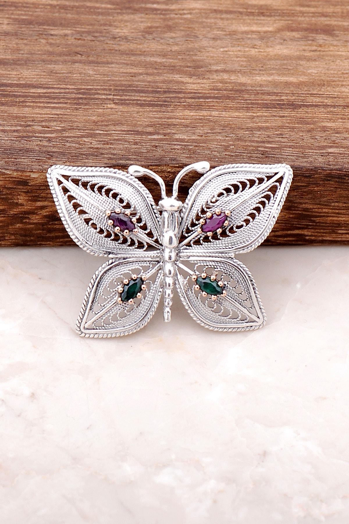 Sümer Telkari Kelebek Tasarımlı Elişi Gümüş Broş 286 1