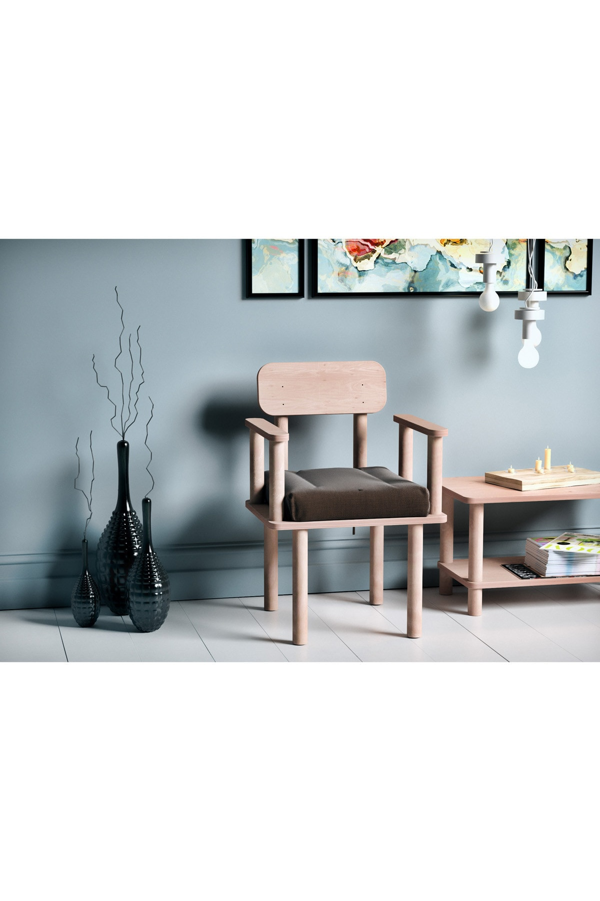 VUDIVA Magnesia Kolçaklı Sandalye Kahverengi