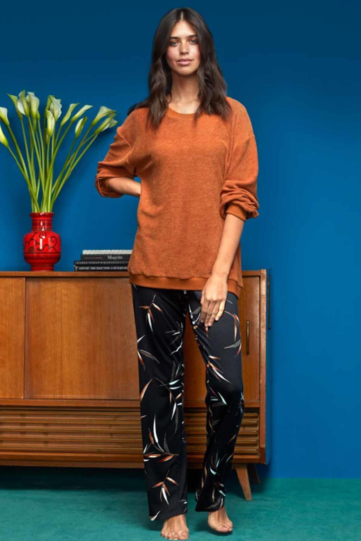 Penyemood Kadın Taba Pijama Takımı Gecelik 3 Parça 8611
