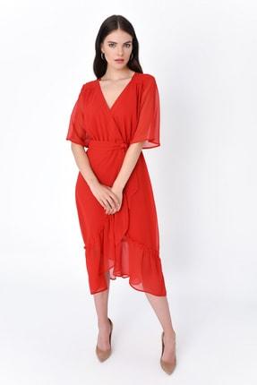 Hanna's by Hanna Darsa Kadın Kırmızı Kruvaze Eteği Fırfırlı Kısa Kollu Elbise HN1919