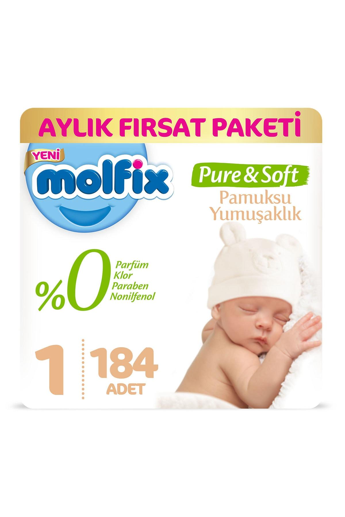 Molfix Pure&Soft Bebek Bezi 1 Beden Yenidoğan Aylık Fırsat Paketi 184 Adet