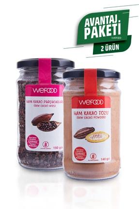 Wefood Organik Ham Kakao Tozu 140 gr + Organik Ham Kakao Parçacıkları 150 gr