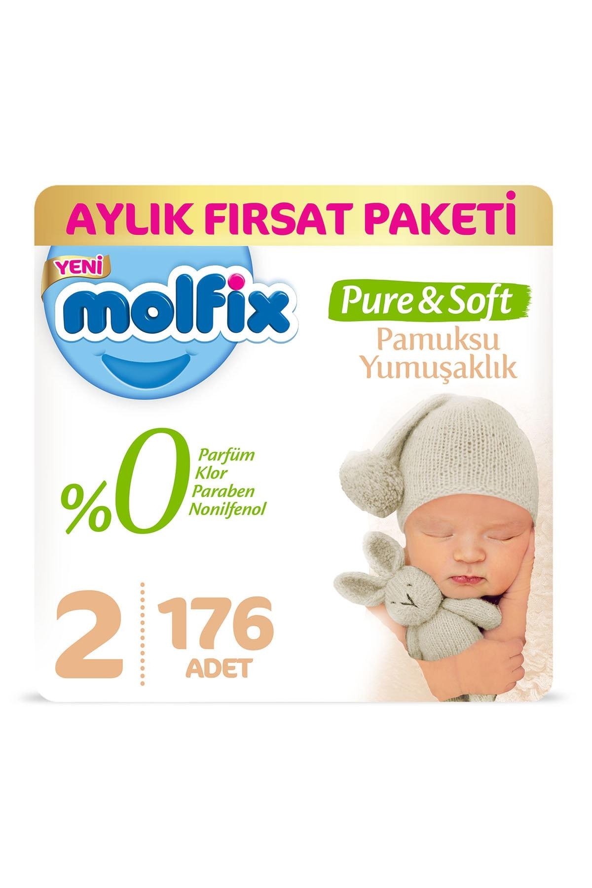 Molfix Pure&Soft Bebek Bezi 2 Beden Mini Aylık Fırsat Paketi 176 Adet
