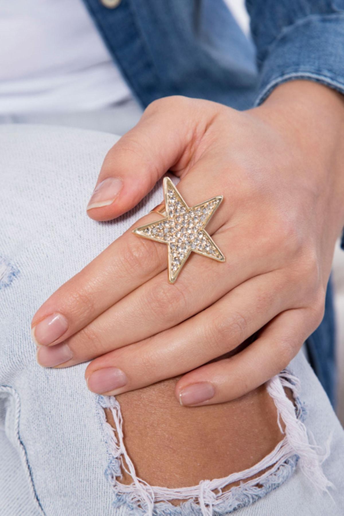 Modex Kadın Altın Kaplama Taşlı Ayarlanabilir Yüzük UYZ9986 1