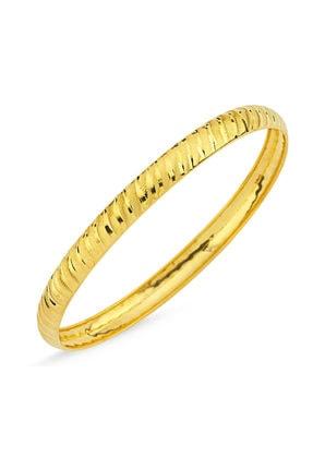 Sembol Gold Kadın Şarnel Altın Hediyelik Bilezik Yan Çizgili BLZ5620654 T8039