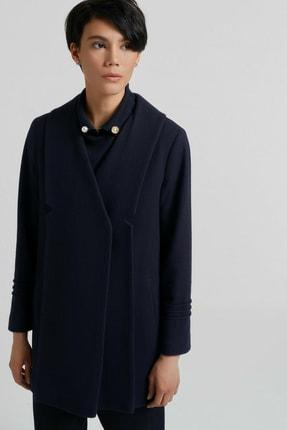 Yargıcı Kadın Lacivert Nervür Detaylı Kısa Palto 9KKPL5142X