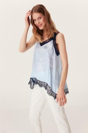 İpekyol Kadın Mavi Dantel Şeritli Bluz IS1190006398089