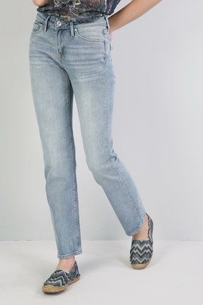 Colin's KADIN 792 Mıla Orta Bel Düz Paça Regular Fit Açık Mavi Kadın Jean Pantolon CL1045167