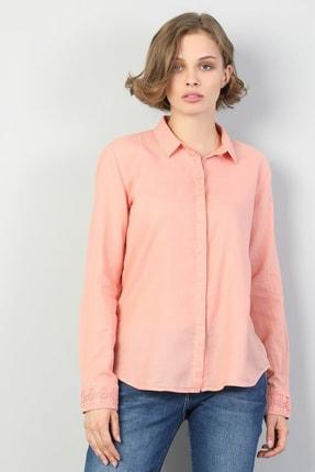 Colin's KADIN Slim Fit Shirt Neck Kadın Pembe Uzun Kol Gömlek CL1048680
