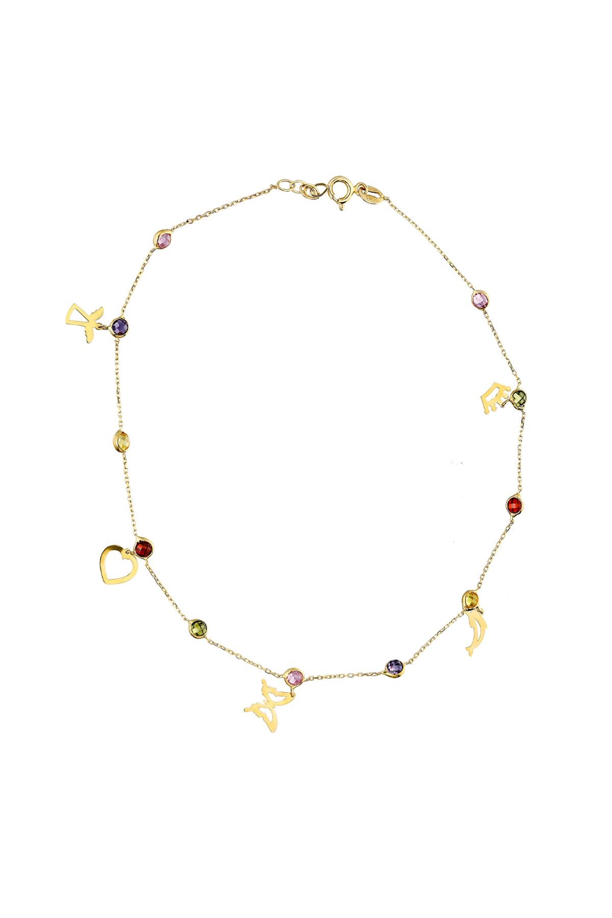 Glorria Kadın Altın Renkli Taşlı Şans Halhal CM0611 1