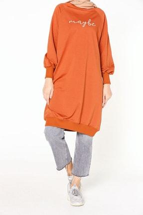 ALLDAY Kadın Kiremit Nakışlı Penye Tunik Sweatshirt P51983
